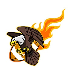 Flying bald eagle and flaming football vector