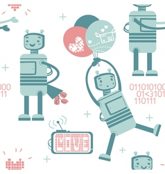 Seamless pattern with cute love robot in gentle co vector