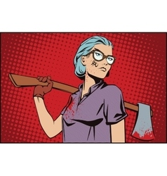 People in retro style Girl with an ax vector image