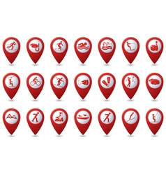 Set of sport icons on red pointer vector
