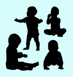 babies activity and training silhouette vector image vector image
