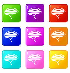 Bicycle helmet icons 9 set vector