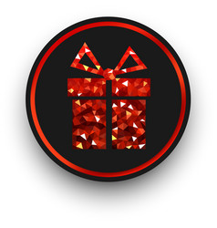 Black round sign with red gift vector