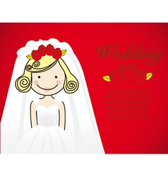 Bride wedding dress on red background vector