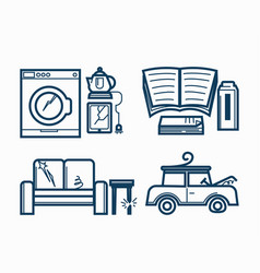 Broken electric appliances soft furniture and old vector