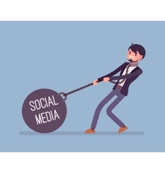 Businessman dragging a weight social media on vector