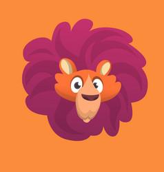 cartoon lion head icon vector image vector image