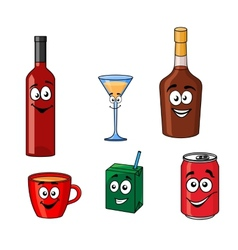 Cartoon set of assorted beverages or drinks vector image vector image