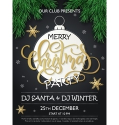 Christmas party poster with fir-tree vector