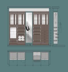 Cloakroom cupboard drawing v vector