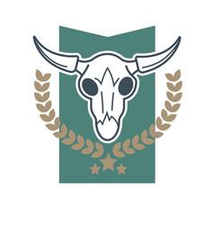 Cow skull emblem vector