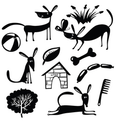 cute dogs silhouettes vector image vector image