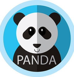 Cute Panda bear cartoon flat icon avatar round vector image