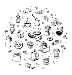 doodle coffee shop icons outline coffee vector image