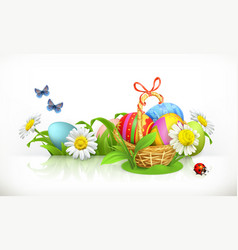 Easter basket and eggs spring flowers 3d banner vector