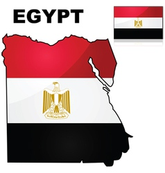 Egypt map and flag vector image vector image
