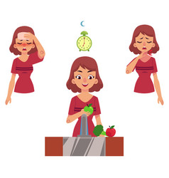 flat woman with illness healthy lifestyle vector image vector image