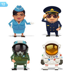 flight professions set vector image