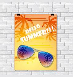 Gray brick wall with summer poster vector