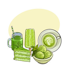hand drawn food with matcha tea - ice cream cake vector image vector image