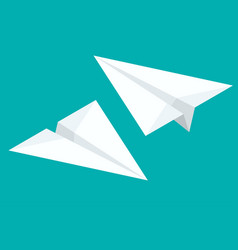 isometric paper airplane flying on background vector image