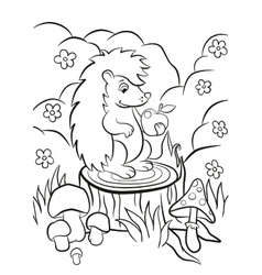 Little cute hedgehog sits on the stump vector
