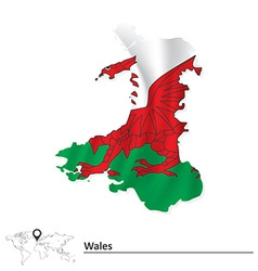 Map of wales with flag vector
