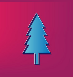 New year tree sign blue 3d printed icon vector