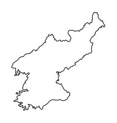 North korea map of black contour curves on white vector