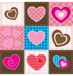 patchwork with textured hearts vector image vector image