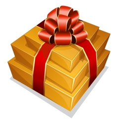 Pile gift box with bow vector image vector image