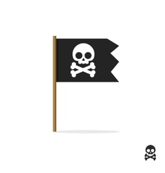 Pirate flag symbol icon skull crossbones vector image