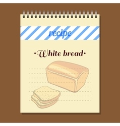 Recipe book white bread vector