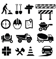 Road works icons vector image vector image