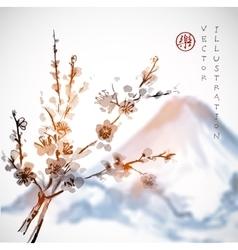 Sakura branches and Fujiyama mountain vector image vector image