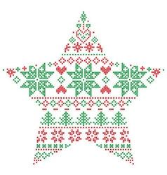 Scandinavian pattern in star shape in green and vector