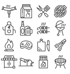 set of barbecue related line icons vector image