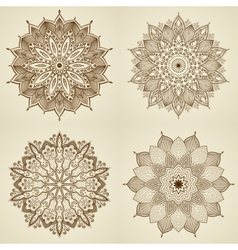 Set of four mandalas Beautiful flowers vector image