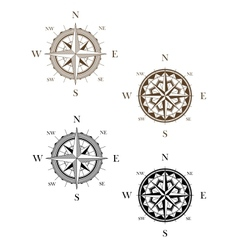 Set of vintage compass signs vector image