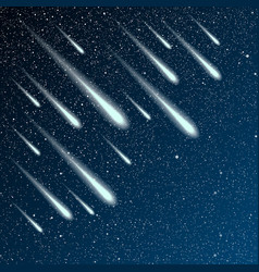 Starry night sky stars night comet meteor vector