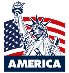 statue of liberty usa flag vector image vector image