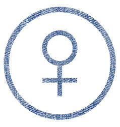 Venus female symbol rounded fabric textured icon vector