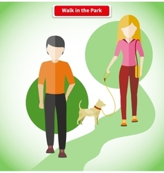 Walk in the Park with Dog Concept vector image