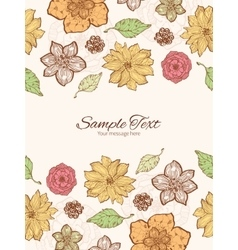 Warm fall lineart flowers vertical double vector