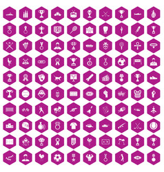 100 medal icons hexagon violet vector