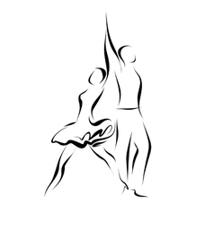 Silhouette of dancing couple vector image