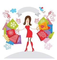 Young girl with purchases vector