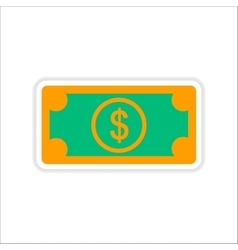 Paper sticker on white background dollar cash vector