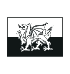 Flag of wales monochrome on white background vector
