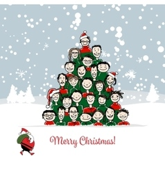 Christmas card funny people tree for your design vector